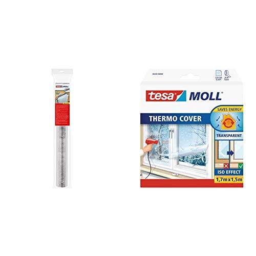 tesa Lámina reflectora de calor para radiadores tesamoll, color plata (1m x 700mm) + 05430-00000-01 05430-00000-01-Pelicula para Ventanas Thermo Cover 1,7m x 1,5m, Standard, 1.7 M X 1.5 M