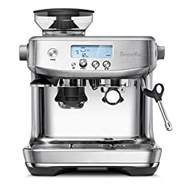 Breville bes878bss barista pro espresso machine, brushed stainless steel 20 the breville barista pro delivers third wave specialty coffee at home using the 4 keys formula and is part of the barista series that offers all in one espresso machines with integrated grinder to go from beans to espresso in under one minute dose control grinding: with a single touch, the integrated precision conical burr grinder with dose control delivers the right amount of coffee on demand, for maximum flavor optimal water pressure: low pressure pre-infusion gradually increases pressure at the start and helps ensure all the flavors are drawn out evenly during the extraction for a balanced tasting cup