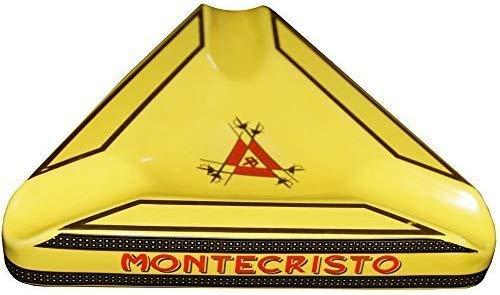 NEDTC Sturmaschenbecher Windaschenbecher Extravaganza Collection–Zigarre Aschenbecher Montecristo (gelb) mit Deckel Zigaretten Edelstahl