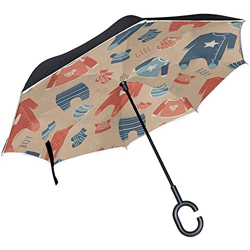 ETGeed Inverted Collapsible Inverted Umbrella Bunter Cartoon Cute Baby Jumpsuit Reversable Umbrella Reverse Umbrella