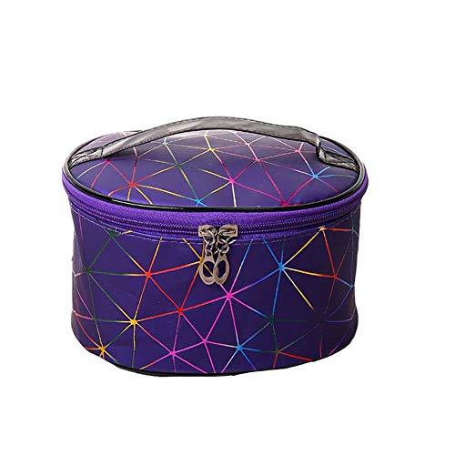 Seneng Bolsa de cosméticos de gran capacidad Symphony Square Bolsa de cosméticos para viajes, lavado de la piel, práctico almacenamiento para lavar la cara, caja de almacenamiento (violeta)