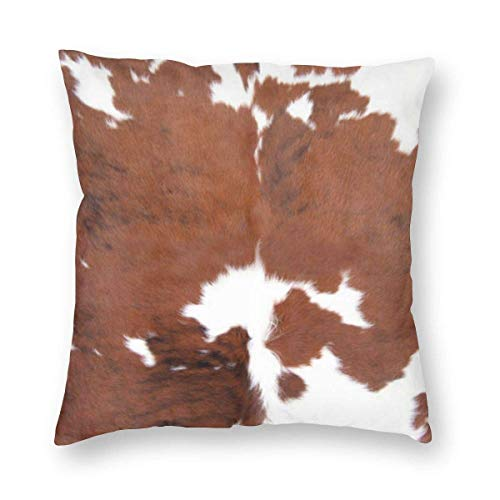 Lsjuee Cowhide Home Decoration Polyester Decor Hidden Zipper Print On Pillowcasedouble-Sided Digital Printing Couch Pillowcase Square 45cm45cm