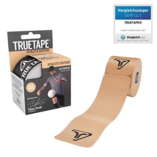 TRUETAPE - vorgeschnittenes Kinesiotape, 20 Streifen pro Rolle, innovatives Synthetikmaterial, inkl. +40 Anleitungen, Beige, Kinesiotapes