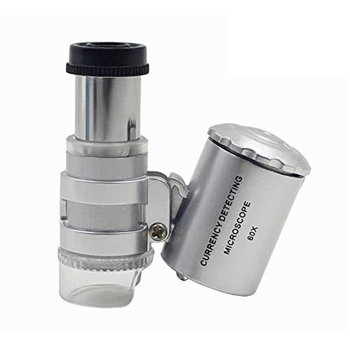 Heaviesk Microscopio 60X con lámpara LED Lámpara de Bolsillo portátil Lupa Lupa Violeta Luz falsificada