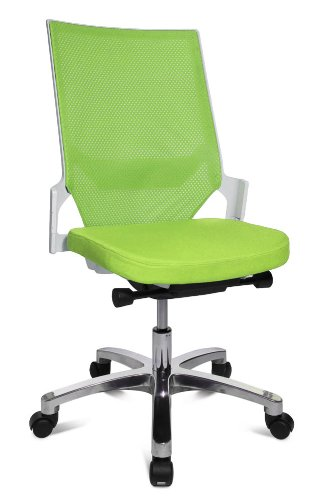 Drehstuhl Autosynchron®-1 Alu grün mit Aluminium-Fußkreuz Rückengestell weiß ohne Armlehnen