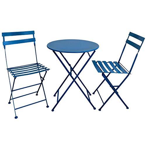 -30€ Set da Pranzo per Giardino in Acciaio con Tavolo Rotondo E 2 SEDIE Pieghevoli (Azzurro)
