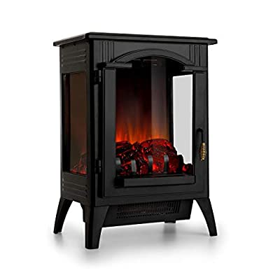Klarstein Graz Electric Fireplace w/Flame Effect - Electric Fireplace, 1000/2000 Watts, Up to 30 m², Thermostat, Heating Function, Dimming and Heat Continuously Adjustable, PanoramaView, Black