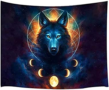 Wolf Moon Tapestry, Fantasy Animal Dreamcatcher Cool Galaxy Tapestry Wall Hanging for Men Girls Bedroom, Aesthetic Hippie Tap