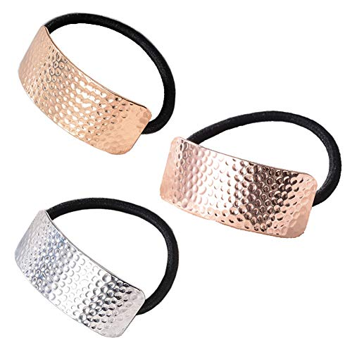 3 Pieces Cuff Ponytail Holder Metal Hair Ties Hair Cuff Elastic Hair Band Gothic Punk Cuff Wrap Ponytail Holder Elastic Rope Hair Cuff Wrap Hair Accessories for Women Girls, Golden, Rose-gold, Silver