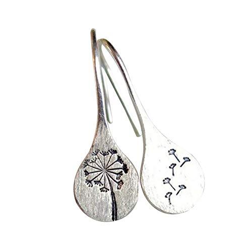 Aoliao Pendientes de diente de león inspirados en la naturaleza simples geométricos de color plata gancho gotas colgantes pendientes para mujer