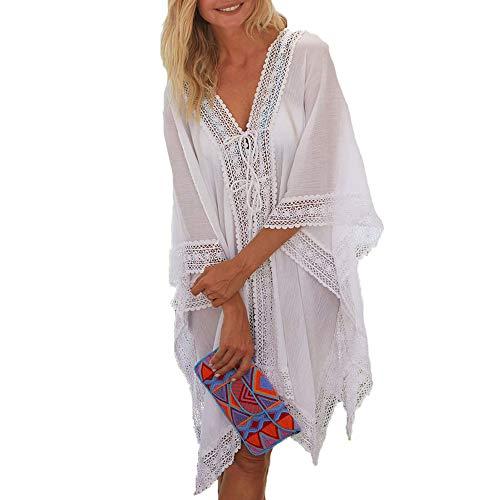 EDOTON Damen Strand Chiffon Cardigan mit Spitze - Sommer Boho Urlaub Poncho Bikini Cover up Badeanzug Bedecken Pareos Kimono Strandkleid Tops Bluse Urlaub (Weiß)