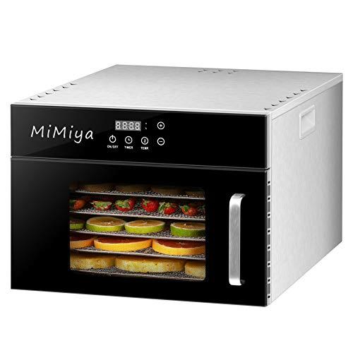 Déshydrateur Alimentaire, MiMiya 6 Plateaux Inox • Desydratateur avec Minuteur (24H) Température Réglable (30 à 90°C) Food Dehydrator Déshydrateur de Fruits et légumes 400W sans BPA