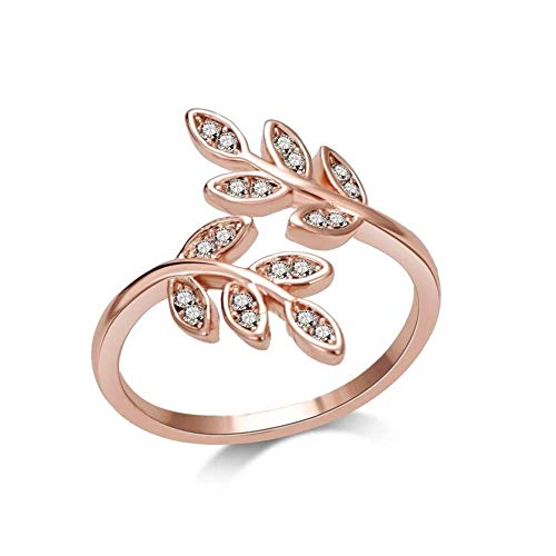Philip Jones Rose Gold Leaf Ring Created with Austrian Crystals