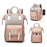 AMBH Bolsa de pañales multifunción para maternidad para mamá y papá con puerto de carga USB, color rosa