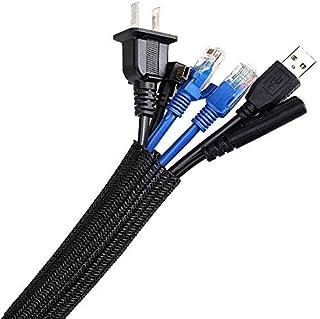 Manchon de Câble Gaine 3M Souple Ajustable AGPTEK, Gestion des Câbles Rangement Tressée Fendue en PET, Protection du cach...