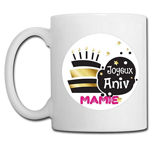 Linyatingoshop - Tazza con scritta 'Joyeux Anniv Mamia', in francese