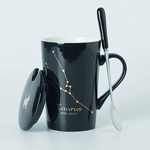 ATYBO Keramikbecher 12 Sternbilder Kreative Becher Mit Löffeldeckel Schwarz Und Gold Porzellan Sternzeichen Milch Kaffeetasse, 6