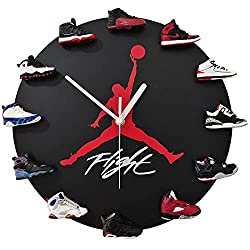 OLOEY Air-Jordans Clock with 1:6 Scale 3D Mini Sneakers, Decorative Sneaker Head Clock, for Basketball Fans