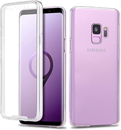 Le Petit Français Coque pour Samsung S9 avec protège écran Transparent Silicone Intégral 360 Full Body Protection Coque Housse pour Avant arrière Galaxy S9