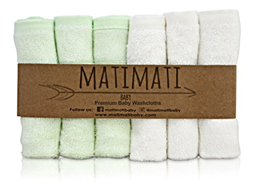 Baby Bamboo Washcloths - Premium Wash Cloth Set of 6 - Ultra Soft Kids/Infant Wash Cloths for Face and Body - Neutral Washcloth Pack - Top Baby Registry and Shower Gifts by Matimati
