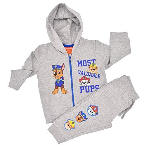 Babybogi Paw Patrol Kinder Trainingsanzug | Größe 68 74 80 86 92 98 | 2 TLG Sportanzug | Kinder Jogginganzug dünne Baumwolle für Jungen in Grau (86/92)