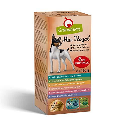 GranataPet Mini Royal Multipack, Nassfutter für Hunde, Hundefutter ohne Getreide & ohne Zuckerzusatz, Alleinfuttermittel für ausgewachsene Hunde, 6 x 150 g