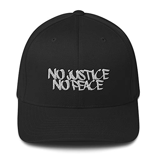 No Justice No Peace - Structured Stretch Band Twill Cap Black
