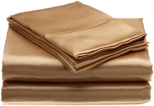 Scent-Sation Charmeuse Satin 4-Piece Sheet Set, Full, Gold