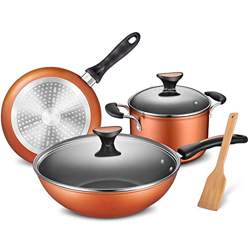 Frituurpan Moderne Household Keukengerei Set Cookware Set Wok Non-stick Pan Pan Pot van de Soep Pot Cooker Spatel 3 stuks (Color : Orange, Size : One size)