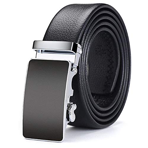 Men Genuine Luxury Leather Belts for Men,Strap Male Metal Automatic Buckle (49 IN, Pure Black)