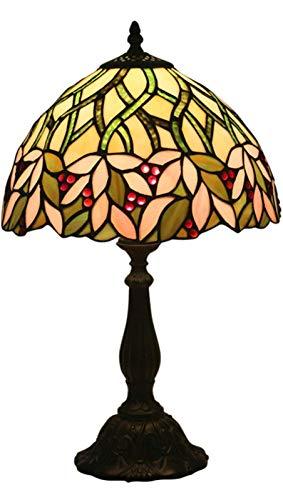 AWCVB Lampade da Tavolo Tiffany, Vetro Colorato con Paralume in Cristallo per Soggiorno Lampada da Comodino Camera da Letto
