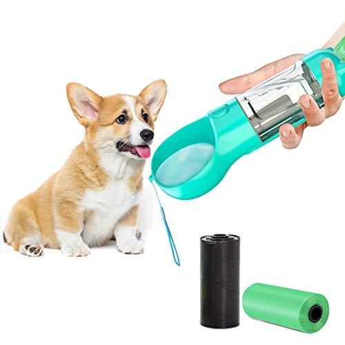 TWBEST Botella de Agua para Perro,Botella de Agua para Mascotas con Dos Rollos de Bolsa para Caca de Perro,Botella para Perros se USA para Mascotas Que Caminan al Aire Libre,viajan etc