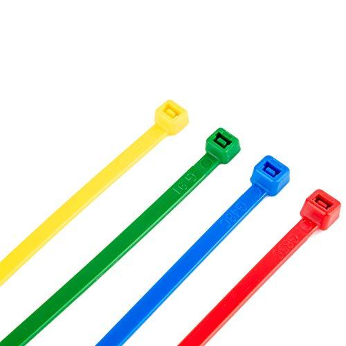 100 Kabelbinder alle Größen in schwarz weiss bunt Industriequalität (200x4,8, Bunt (je25xRot,Blau,Gelb,Grün))
