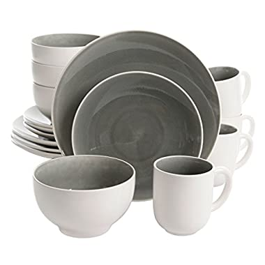 Gibson Elite 114326.16RM Serenity 16 Piece Dinnerware Set With Crackle Glaze, Grey/White