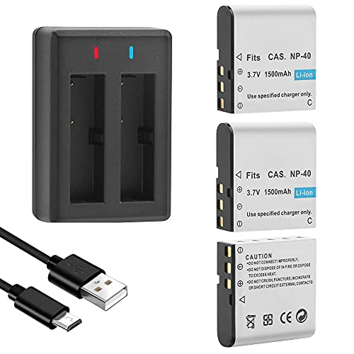 GeeKam NP-40 Akku, 1500mAh Akku (3 Stück) mit USB Charger für Video Kamera Camcorder, Kompatibel mit Casio NP-40, Casio Exilim EX-Z600, Z700, Z750, Z1000, Z1050, Z1080