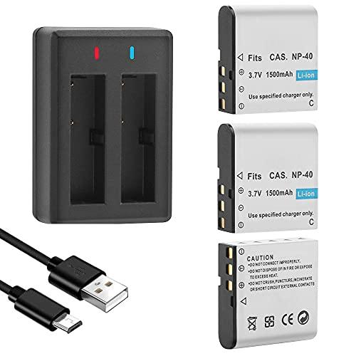 GeeKam NP-40 baterías, batería recargable de 1500 mAh (paquete de 3) con cargador dual USB para Video Camera Camcorders