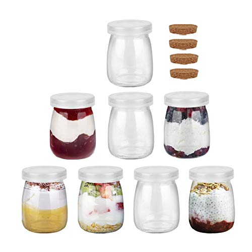 FRUITEAM 4 oz (8-Pack) Clear Glass Pudding Jars with PE Lids, Glass Containers with Caps for Yogurt, Milk, Jam, Jellies, Honey, Spices Mousse and More