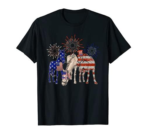 Divertido Estados Unidos De Caballos Patriótico 4 De Julio Camiseta