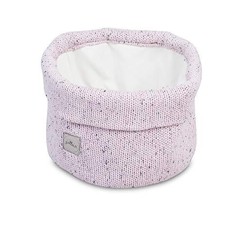 Jollein - Stoffkorb'Confetti Knit Vintage Pink' 20x20x12cm - Aufbewahrungsbox in rosa - Stoff Box für Wickelkommode & Babyzimmer - Strick...