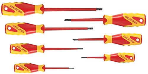 GEDORE VDE-Schraubendreher-Satz PH-077 / 7-tlg. VDE-Schraubenzieher-Set für Schlitzschrauben (2,5 / 4 / 5,5 / 6,5) & Phillips-Kreuzschlitzschrauben (0 / 1 / 2) mit Klingen aus Vanadium Stahl