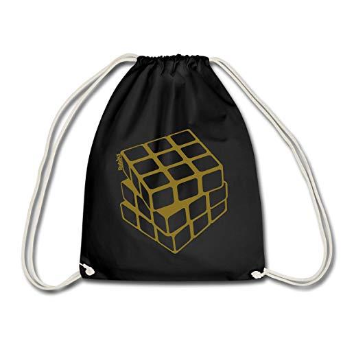 Spreadshirt Rubik's Cube Zauberwürfel in Gold Turnbeutel, Schwarz