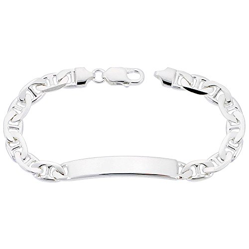 """NYC Sterling Men's Sterling Silver 8mm Mariner ID Bracelet, Made in Italy. (8"""")"""