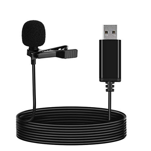 LarmTek Micrófono de solapa USB compatible con computadora portátil, computadora de escritorio,PC y Mac,micrófono omnidireccional para grabación de video,Skype,podcasting