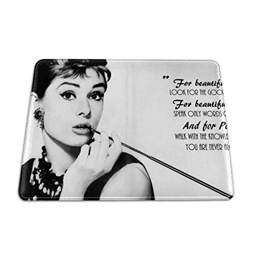 Audrey Hepburn Reisepass Clip Leder Reisebrieftasche Bankkartenhalter ID Karte Passport Halter Schneidehülle praktische Dekoration 16,5 x 11,4 cm