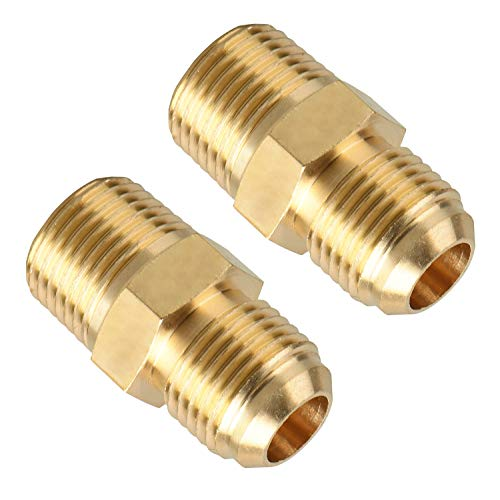 SUNGATOR Brass Tube Fitting, Half-Union, 3/8 in. Flare x 3/8 in. Male Pipe (2-Pack)