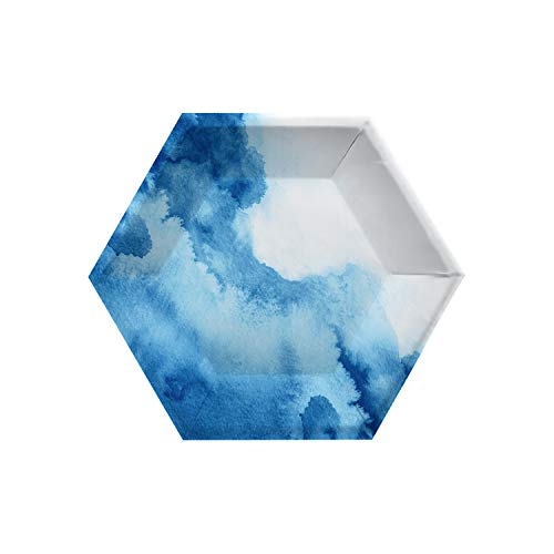 Creative Converting Watercolor Wash Blue Paper Plates, 10'