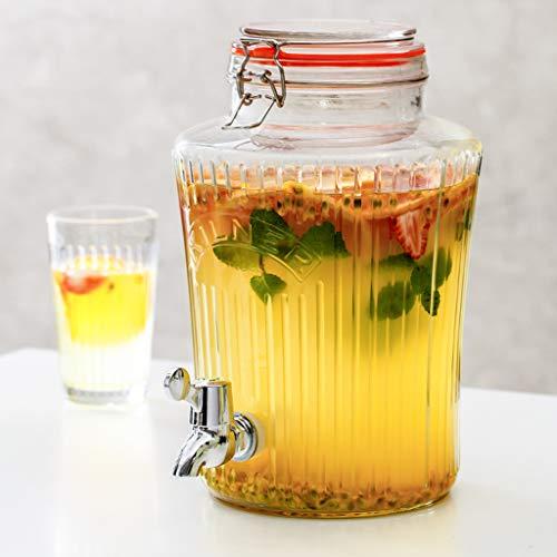 Bucket Yxx@ Dispensador de Bebida Botella 5L 8L con Grifo Jarra de Zumo con Grifo Aspecto de Tarro de conserva Vasos de Cocktail de Cristal prémium Retro jardín terraza