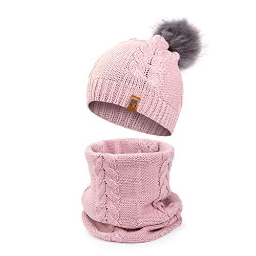 HEYO Damen Wintermütze Schlauchschal Set Winter Gestrickte Warme Mütze mit Schal   HZ0002 (Rosa)