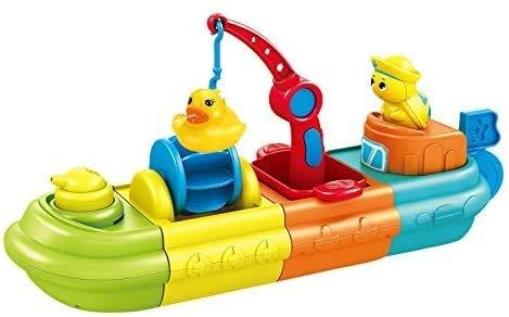zeyujie Baño de Agua de baño Barco de Bocas Que Juega en el bañador de Agua Que ensambla y presiona los Juguetes de baño de Agua para Construir un Barco con Colores Brillantes.El Bote Grande se Puede