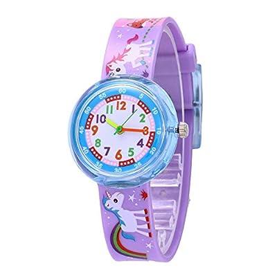 Relojes Unicornio Lindo Niñas Relojes Animal Caballo Arcoiris Reloj Niños Silicona Púrpura Colorido